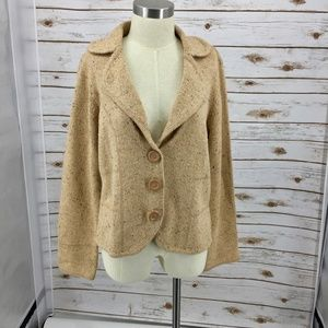 Liz Claiborne knit cardigan blazer camel fleck XL